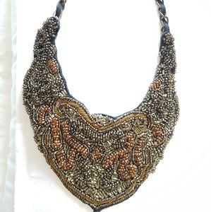 ZARA WOMENS beaded bib necklace